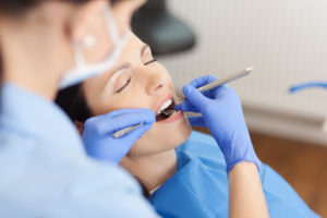 Woman relaxed at dentist's office