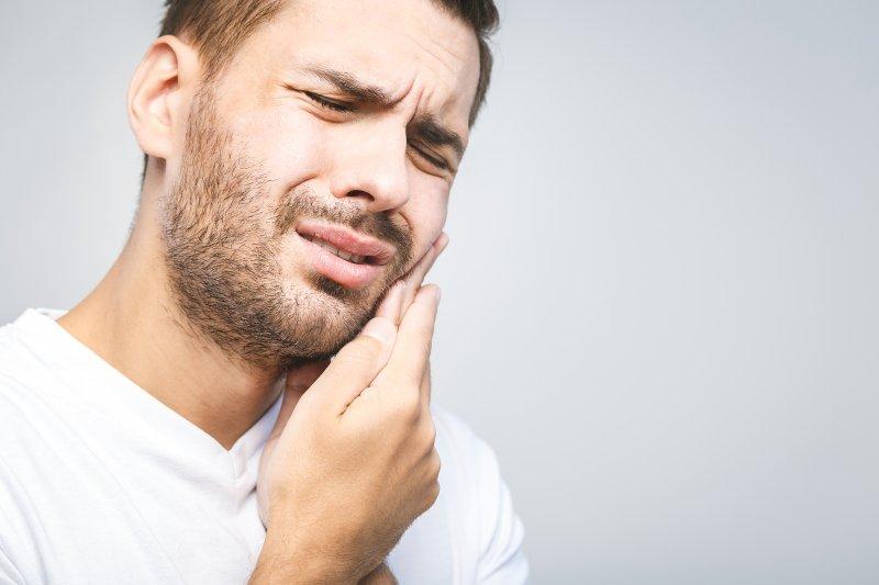 Man with a dental emergency